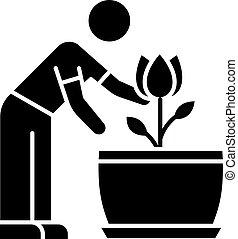 planta de interior, glyph, plant., icon., florecimiento, ...