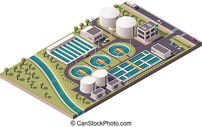 planta del agua, vector, isométrico, tratamiento