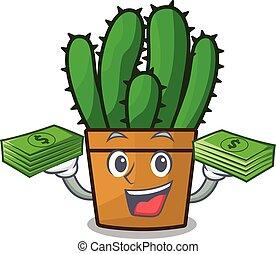 planta, dinero, aislado, spurge, cacto, mascota