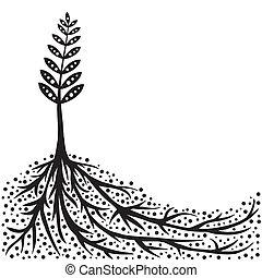 planta, e, raizes, fundo