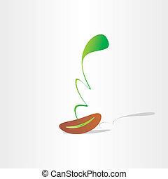 planta, eco, abstratos, semente, crescimento, nascimento, ...