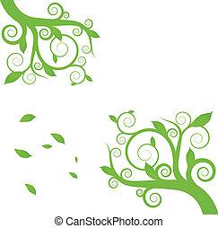 planta, ecología, ambiente, vector, fondo verde