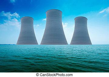planta, ecología, desastre, potencia, nuclear, concept., coast.