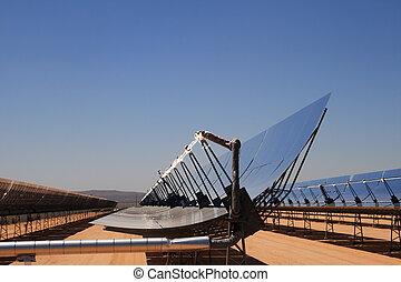 planta, energia, solar, deserto
