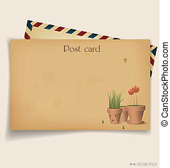 planta, flor, illustration., postal, vendimia, sobre, pot.,...