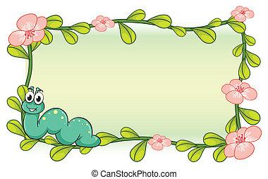 planta, flor, lagarta, quadro