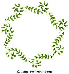 planta, folhas, grinalda, videira, borda, quadro