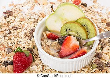 planta, frutas, tazón,  muesli, fresco, leche