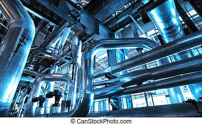 planta, fundar, cables, equipo, dentro, tubería, industrial, potencia