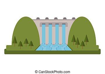 planta, hidroeléctrico, icono