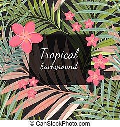 planta, hoja, colorido, patrón, tropical, plano de fondo, ...