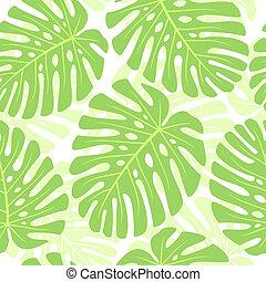planta, hojas, -, seamless, tropical, fondo., monstera.,...