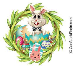 planta, huevos de pascua, conejito, diseño, frondoso