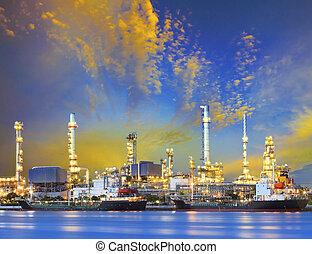 planta, indústria petrochemical, refinaria óleo, b, navio,...