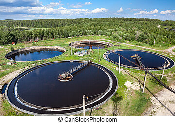 planta, industrial, aéreo, tratamiento, aguas residuales,...