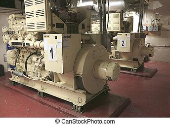 planta, industrial, eléctrico, generador, dentro, potencia, primer plano