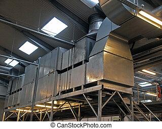 planta, industrial, fábrica, hvac, ventilação