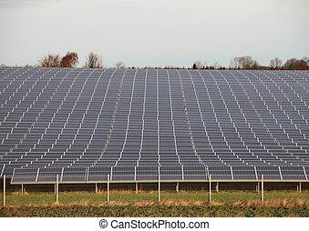planta, industrial, horizonte, cerca, sol, solar