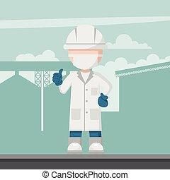 planta industrial, ingeniería, plano de fondo, alimento, ...