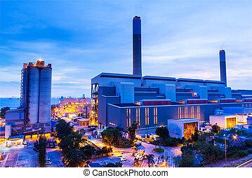 planta, industrial, noche