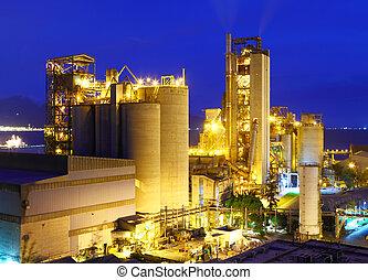 planta, industrial, noturna