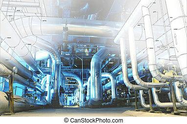 planta, industrial, oleodutos, poder, modernos, computador,...