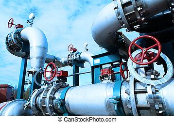 planta, industrial, poder, dentro, equipamento, tubagem,...