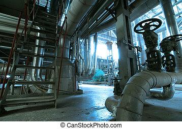 planta,  Industrial, poder, dentro, equipamento, tubagem, encontrado, cabos