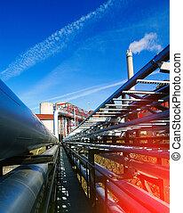 planta, industrial, poder, dentro, modernos, equipamento, tubagem, encontrado, cabos