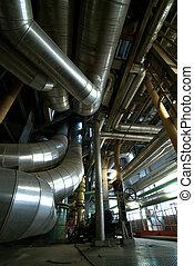 planta,  industrial, potencia, dentro, equipo, tubería, fundar,  cables