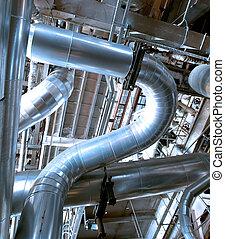 planta, industrial, potencia, dentro, equipo, tubería,...