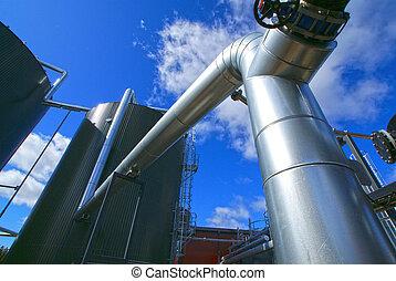 planta, industrial, potencia, dentro, moderno, equipo,...