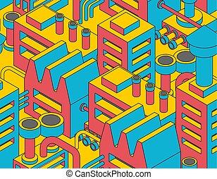 planta, industrial, seamless., patrón, fábrica, fábrica, ...