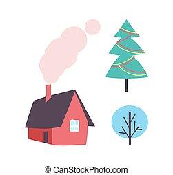 planta, invierno, casa, árbol, icono, adornado, navidad