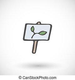 planta, jardim, madeira, sinal., ilustração, vetorial