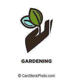 planta, jardinería, mano, vector, hoja, icono