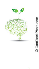 planta jovem, com, cérebro, raiz, vetorial