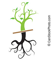 planta jovem, vetorial