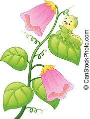 planta, lagarta, caricatura
