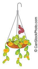 planta, lagarta, penduradas