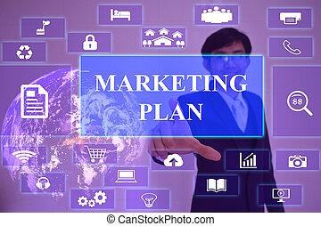 planta marketing, conceito, apresentado, por, homem negócios, tocar, ligado, virtual, tela, elemento, fornecido, por, nasa