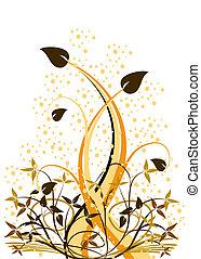 planta, menor, grunge, ilustration, abstratos, efeito, manchas, folliage, grande, floral, vetorial, fundo, laranja, branca