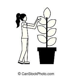 planta, mulher, potted, jovem