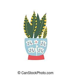planta, natural, casa, sansevieria, ilustração, elemento, decoração, crescendo, vetorial, desenho, interior, lar, pote
