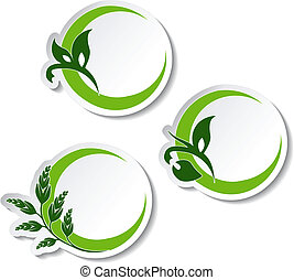 planta, natural, -, símbolos, vector, pegatinas