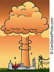 planta nuclear, desastre, poder