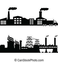 planta, nuclear, edifícios, industrial, fábrica
