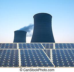 planta nuclear, enfriamiento, potencia, torre