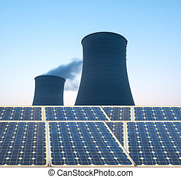planta nuclear, esfriando, poder, torre