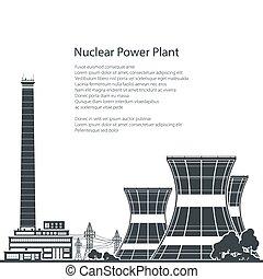 planta nuclear, silueta, poder, texto
